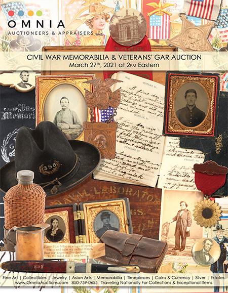 Civil War, Veterans' Grand Army of the Republic - GAR Reunion & Spanish War Veterans Memorabilia Auction - March 27th 2021