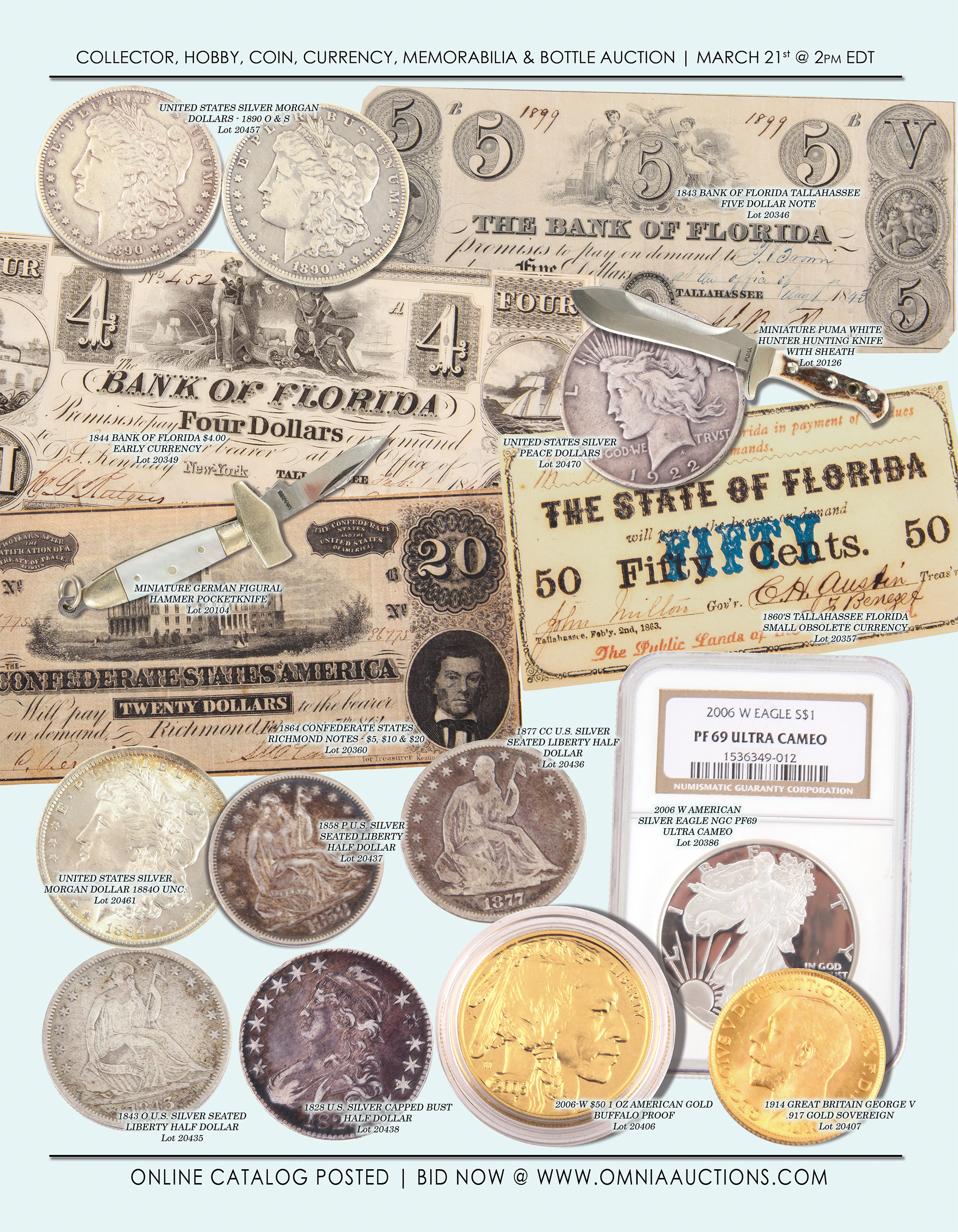 Collector, Hobby, Coin, Currency, Sport, Memorabilia & Bottle Auction - Coin & Currency