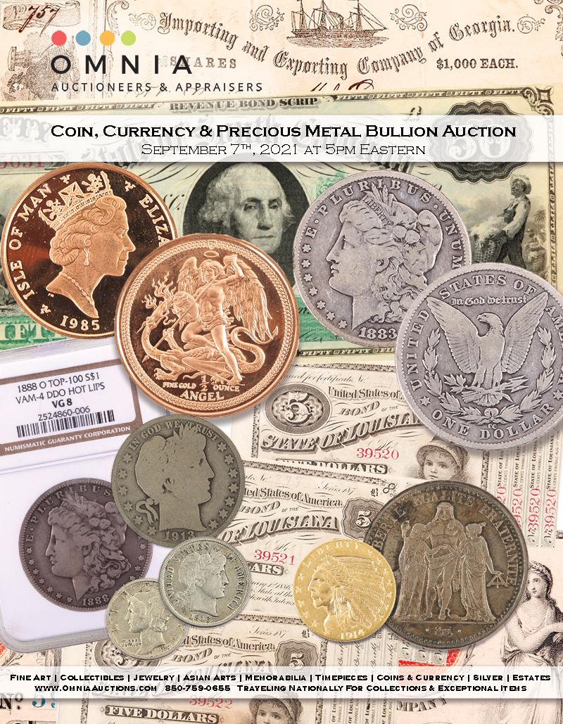 Coin, Currency & Precious Metal Bullion Auction