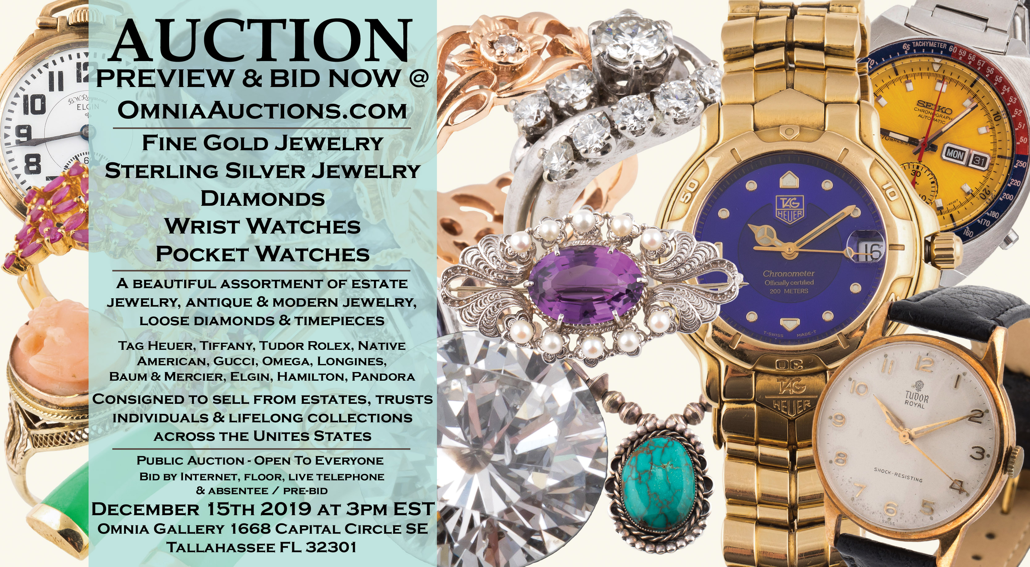Fine Gold & Silver Estate Jewelry, Diamond, Native American Sterling, Pocket Watch, Wrist Watch Auction